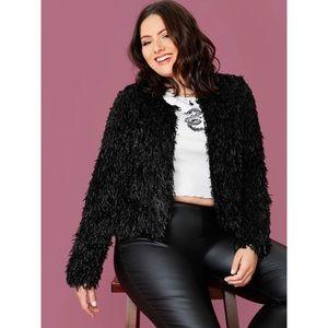 PLUS shaggy faux fur jacket coat black